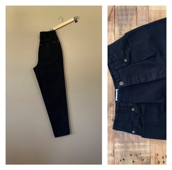 "26"" 90s Black High Waisted Jeans/90s Jeans Pleated"