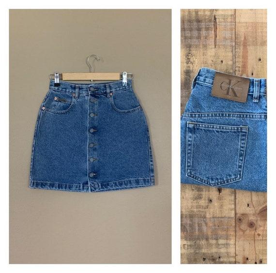 "26"" High Waisted Calvin Klein Denim Skirt / Calvin"