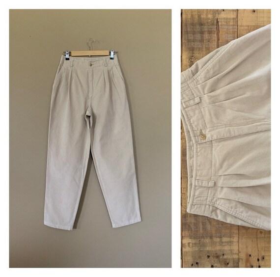 "28"" High Waisted Tan Corduroy Pants / Womens Cordu"