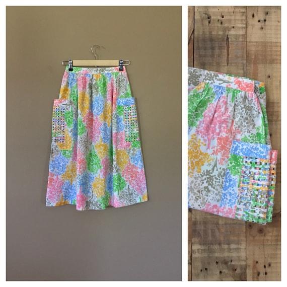 Small 80's High Waisted Skirt/Cotton Skirt/90s Ski