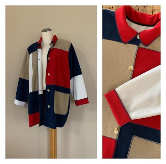 90's Color Block Fleece Jacket XXL / 90's Fleece O