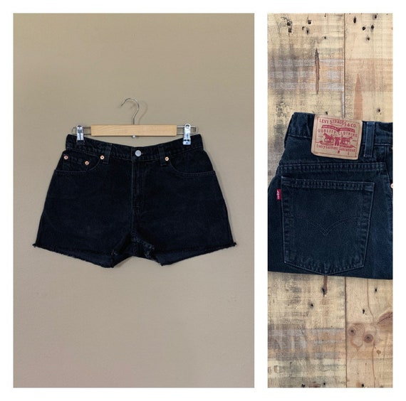 "29"" Black Levis High Waisted Shorts Denim / Black"