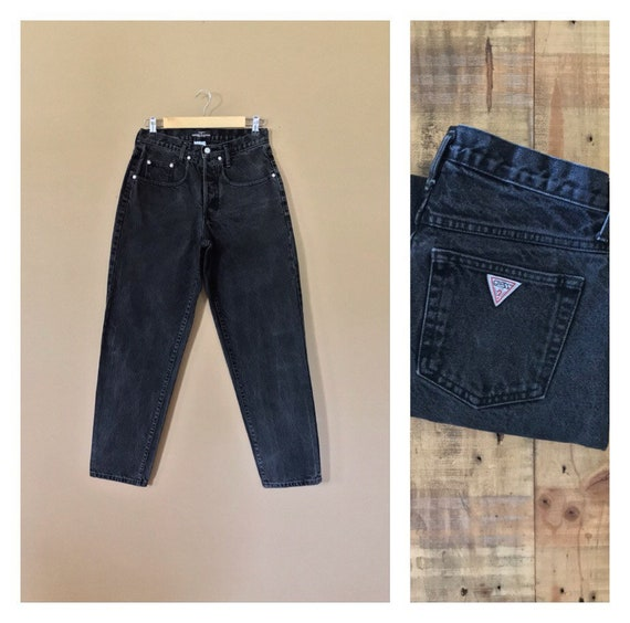 "29/30"" Black Button Fly Guess Jeans High Waist/90s"