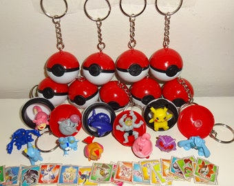 30 Pokeball keychains W/ Pokemon Mini Figures and Stickers - 30 Keychains + 30 Figures + 60 Stickers - Party Favors - Birthday Party -