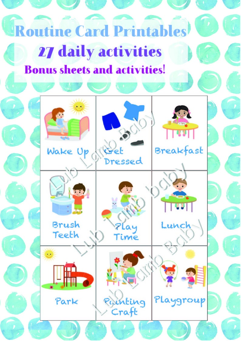 photo regarding Printable Toddler Flash Cards known as Printable Timetable Playing cards / Preschool program / Child flash playing cards / Day-to-day recreation playing cards / Child program / Day by day Chores /