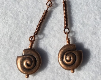 Copper Shell Earrings, Copper Jewelry, Shell Earrings, Dangle Earrings, Handmade, Wire-wrapped