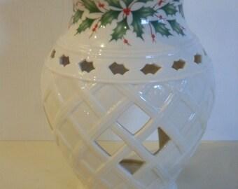 Lenox China Holiday Tartan  Fragrance Warmer, Candle Holder, Candle Decor, Holiday Decor, Table Decor, Home Decor, Vintage Candle Decor