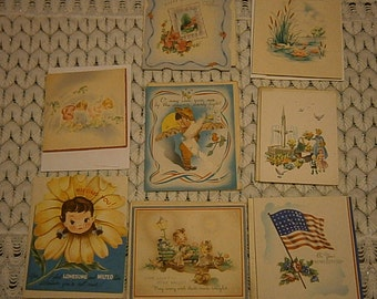 Eight Vintage Family/Military Greeting Cards w/Envelopes