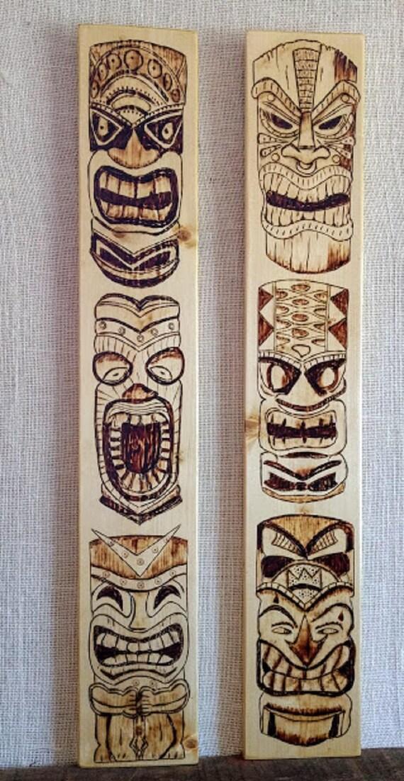 Tiki Mask Towers Woodburning Two Pyrography