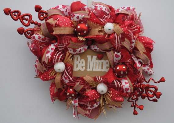 Country Valentines Day Wreath Valentines Day Deco Mesh Etsy