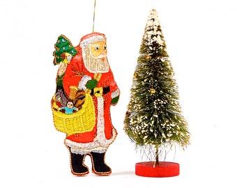 SKU 27-C4-00014206 VINTAGE: 6 Santa Embroidered Ornament Holiday Ornament Pillow Ornament Christmas