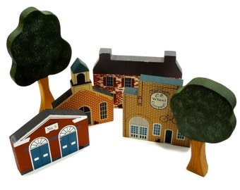 VINTAGE: 1990 - Cats' Meow Village - Genuine Wood - Artist Signed - Block Town - Wood Building - Wood Village - SKU 28-A-00006006