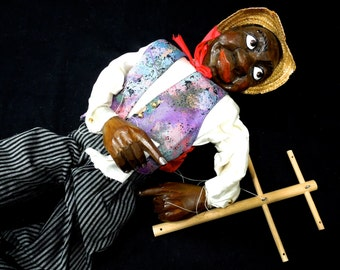 VINTAGE: Rare German Large Collectable Hand Carved Painted Wooden Marionette Doll - Fellinger Geschenxe - Puppet Dolls - SKU 29-A-00006730