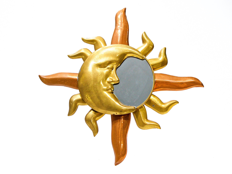 VINTAGE: Mexican Brass Copper Moon Hanging Mirror Folk Art | Etsy