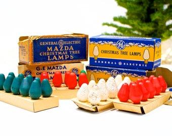 VINTAGE: Mazda Tree Lamps - GE light Bulbs - Tree Light Bulb - Christmas Bulbs - SKU