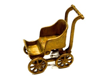 VINTAGE: Solid Metal Stroller Carriage Buggy Figurine - Small Stroller - SKU 14-A2-00007240