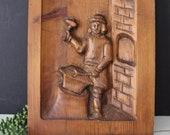 Vintage Carved Wood Plaque - Unique Blacksmith Wood Fire Hand Carved Wooden Art Work - Large 3D Antique Blacksmith Iron Worker