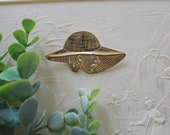 Vintage 1960 39 s Lady in Hat Pin Brooch - Mid Century Woman in Hat Gold Tone Metal Decorative Pin Sun Hat Strong Mysterious Female Accessory