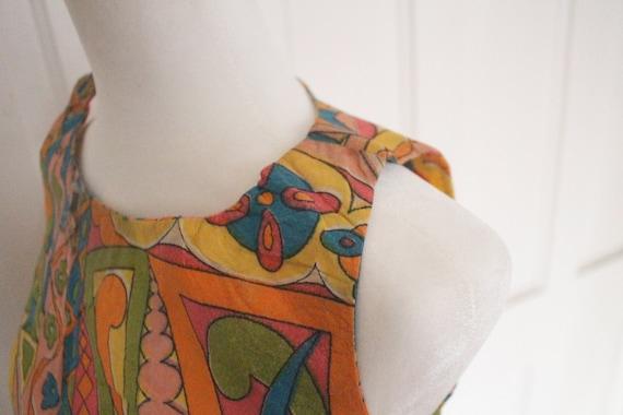Vintage 1960's Paper Dress - RARE Sleeveless Colo… - image 3