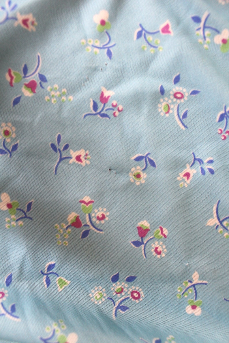 1 12 yds Vintage 1980s Fabric Remnant Retro Silky Polyester Blue Floral Material Piece Pink Blue White Green Flowers Dress Fabric