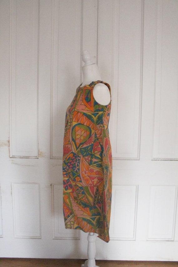 Vintage 1960's Paper Dress - RARE Sleeveless Colo… - image 4