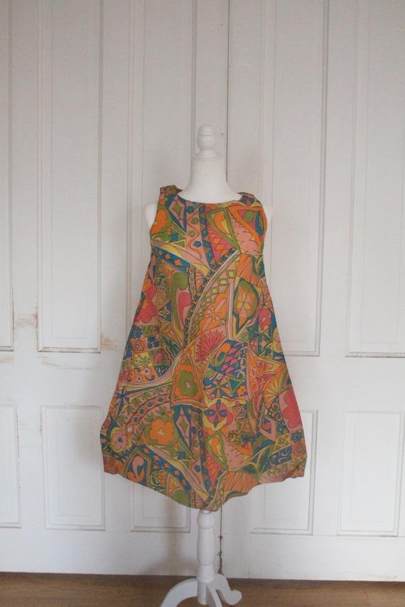 Vintage 1960's Paper Dress - RARE Sleeveless Colo… - image 8