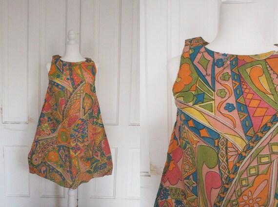 Vintage 1960's Paper Dress - RARE Sleeveless Colo… - image 1