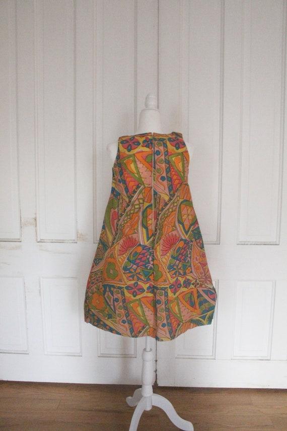 Vintage 1960's Paper Dress - RARE Sleeveless Colo… - image 5