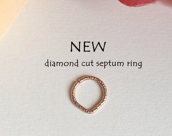 NEW ! Diamond Cut Triangle Septum Ring, Rose Gold Septum Ring.