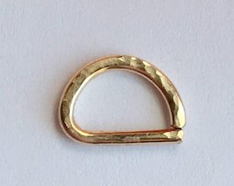 D Septum Ring, Hammered Rose Gold Septum Ring 14K Gold Filled 925 Sterling Silver Septum Ring.