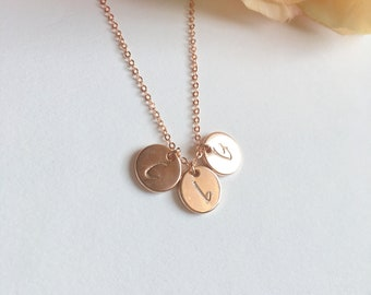 Mother Day Gift. Rose gold / Gold / Silver  Initial Necklace.