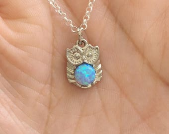 Small White Opal Owl Necklace. Silver Necklace. Opal Necklace.