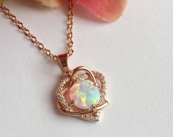 Opal moon necklace lab opal crescent moon necklace white opal necklace rose gold necklace lab made opal necklace aloadofball Images
