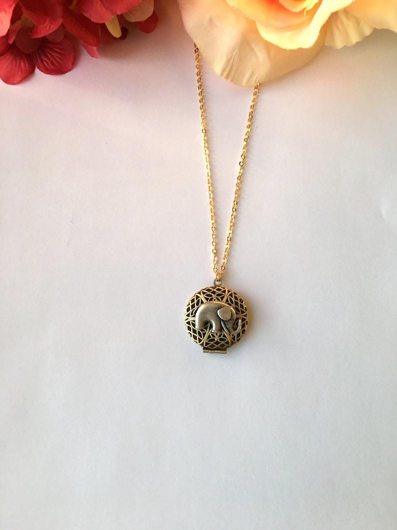 Antique Gold Elephant Locket Necklace.