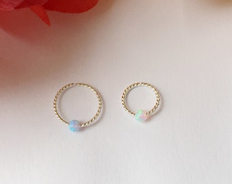 Twist Septum Ring with Opal Bead. 9 mm, 10 mm.