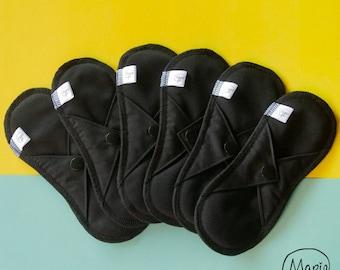 Set of 6 day sanitary towels NOIRES in organic black hemp cotton - feminine hygiene - washable underside protection - zero waste