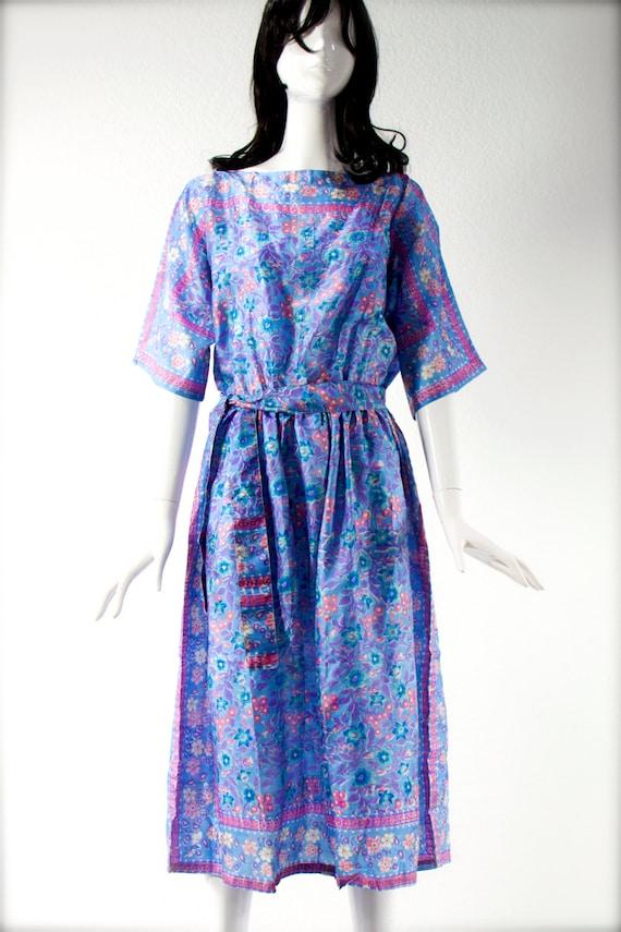 ViNTagE Sheer 00005203 Hand Zodiac Gipsy Boho Hippie Maxi Floral SILK Dress Rare 21 Blocked 1970's India UrwZxYqpr