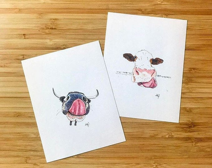 Cow Mini Prints (set of 2)!