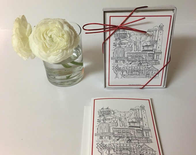 Set of 5 cards and envelopes. Tuscaloosa Alabama City Collage Stationary.