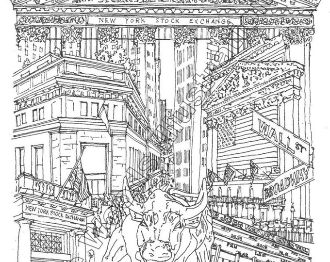 "18""x24"" Wall Street/ New York Stock Exchange City Collage"