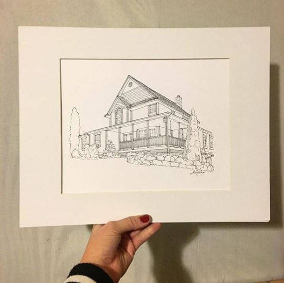 Custom Pen and Ink House Portrait
