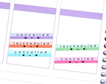 Happy or Sad Cancelled and Rescheduled Stickers for Erin Condren Life Planner Mambi Daily Calendar Kawaii Cute Funny Canceled