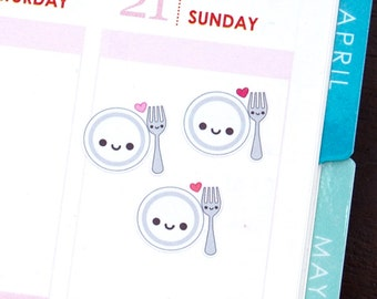 Happy Plate and Fork Tracker Reminder Stickers Erin Condren Life Planner Mambi Filofax Midori Kawaii Cute Funny Dinner Lunch Utensils Meal