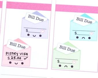 Happy or Sad Bill Due Write-in Tracker Reminder Cute Kawaii Planner Stickers Erin Condren Midori Kikkik Funny Cute Money Budget