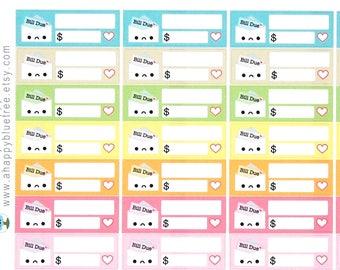 Happy or Sad Bill Due (BEACH Colors) Reminder Label Cute Kawaii Vertical Erin Condren Planner Stickers Mambi Personal Cute Budget Summer