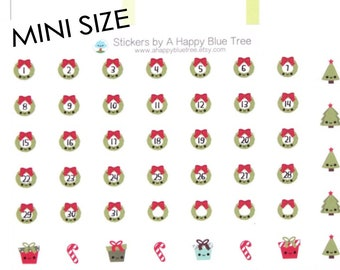Tiny Happy Christmas Wreath Monthly Date Dots Covers Stickers Erin Condren Life Planner ECLP A5 A6 Personal Mini Kawaii Cute Funny December