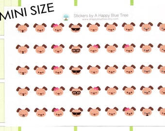MINI Happy Brown Dog EMOTIONS Themed Stickers for Erin Condren Life Planner ECLP Mambi Personal Kikkik Funny Kawaii Cute Tiny Sad Mad Puppy