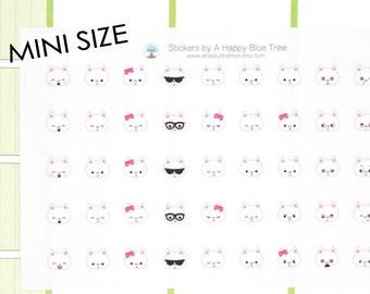 MINI Happy White Cat EMOTIONS Themed Stickers for Erin Condren Life Planner ECLP Mambi Personal Kikkik Funny Kawaii Cute Tiny Sad Mad Kitty