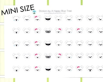 MINI Happy White Dog EMOTIONS Themed Stickers for Erin Condren Life Planner ECLP Mambi Personal Kikkik Funny Kawaii Cute Tiny Sad Mad Puppy