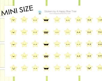 MINI Happy Star EMOTIONS Themed Stickers Erin Condren Life Planner ECLP Mambi Personal Plum Midori Kawaii Cute Tiny Mad Sad Night Twinkle